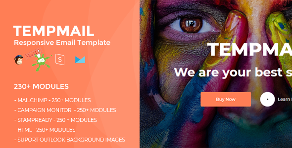 TEMPMAIL – Responsive Email Template (230+ Modules) + Online Stampready Builder