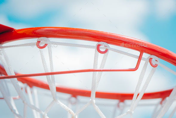 Close up of brand new basketball hoop - Stock Photo - Images