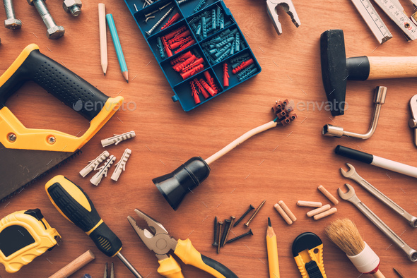 DIY housework tools top view on workshop desk - Stock Photo - Images
