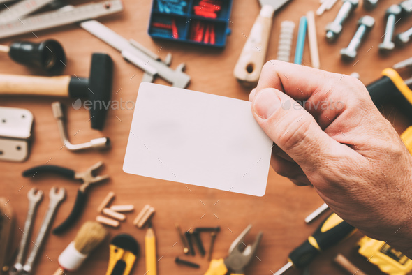 Handyman blank business card as copy space - Stock Photo - Images