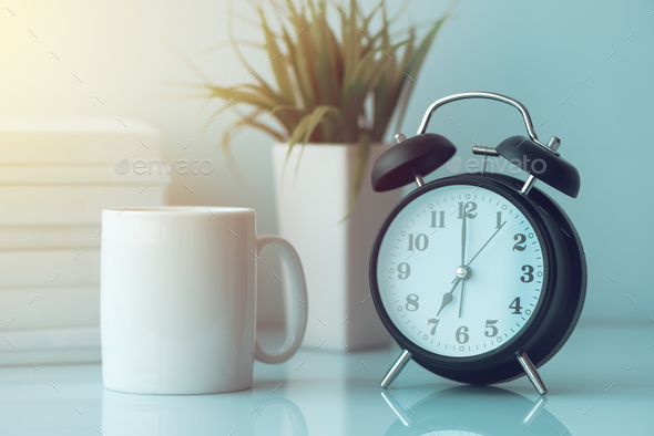 Morning coffee in the office - Stock Photo - Images