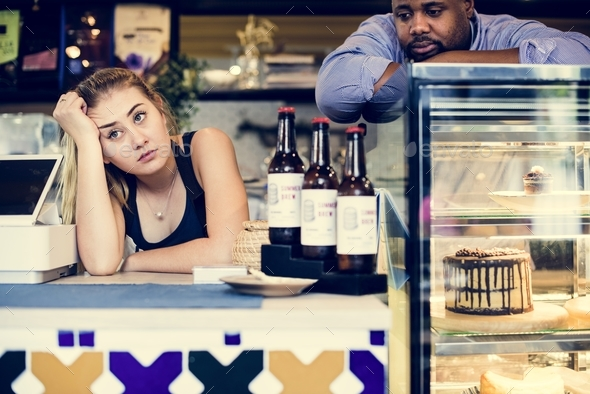 Business owner waiting for customers - Stock Photo - Images