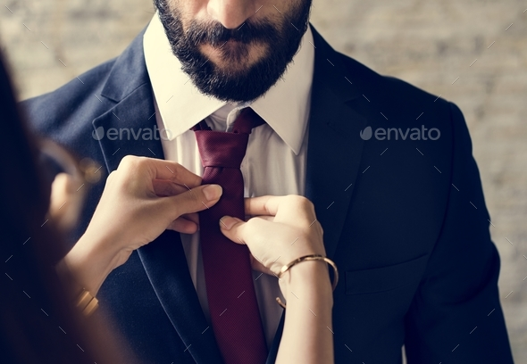 Classy mann dressing up - Stock Photo - Images