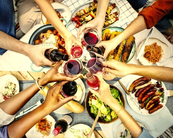 Aerial view of people toasting together - Stock Photo - Images