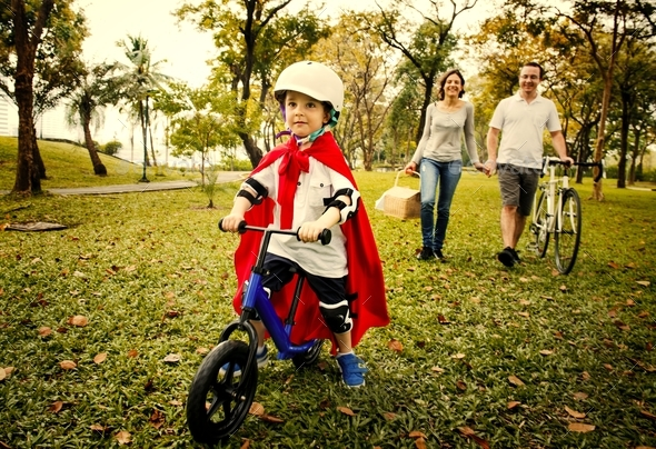 Family Bicycling Holiday Weekend Activity - Stock Photo - Images