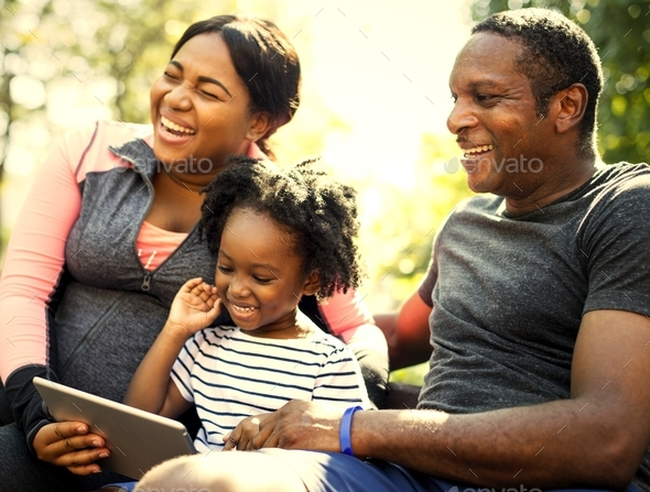African family having a good time together - Stock Photo - Images