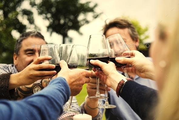 Group of people celebrating - Stock Photo - Images