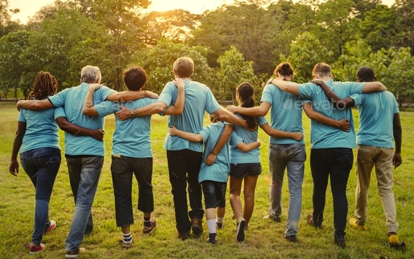 Group of diversity people volunteen arm around - Stock Photo - Images