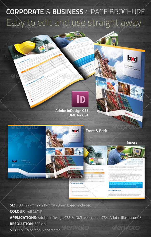 corporate business 4 page brochure corporate brochures