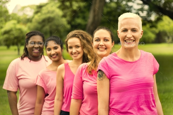 Women wearing pink for breast cancer awareness - Stock Photo - Images