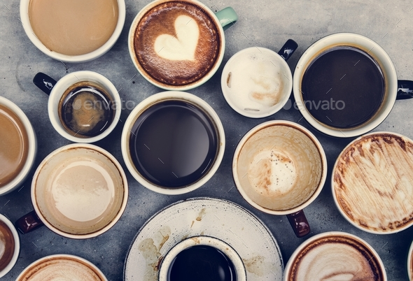 Aerial view of various coffee - Stock Photo - Images