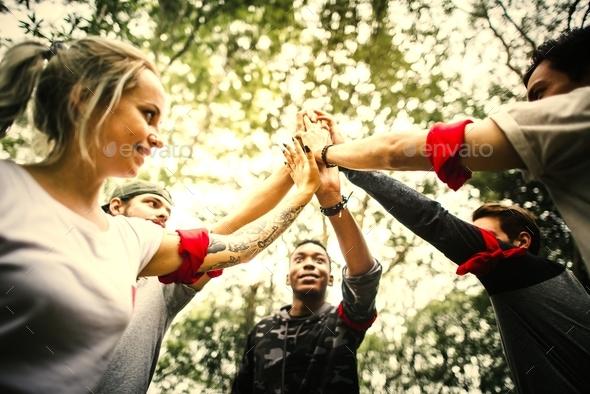 Outdoor team orienteering activity - Stock Photo - Images