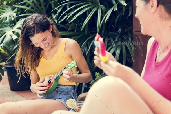Mother and daughter summertime happiness - Stock Photo - Images