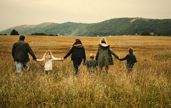 Rear view of caucasian family walking together in the field - Stock Photo - Images