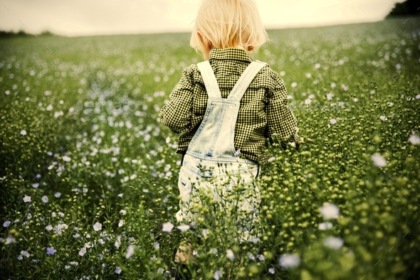 Kid in the garden - Stock Photo - Images