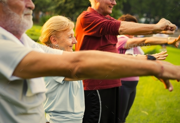 Senior adults doing their daily exercise routine - Stock Photo - Images