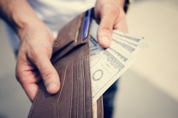 A doller bills in a wallet - Stock Photo - Images