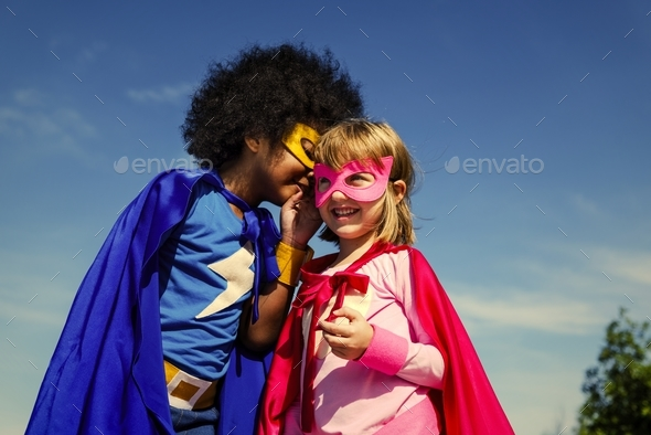 Two little superheroes - Stock Photo - Images