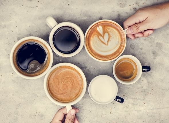Couple enjoying coffee on the weekend - Stock Photo - Images