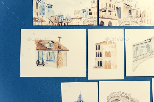 Hand drawn sketches on a blue wall - Stock Photo - Images