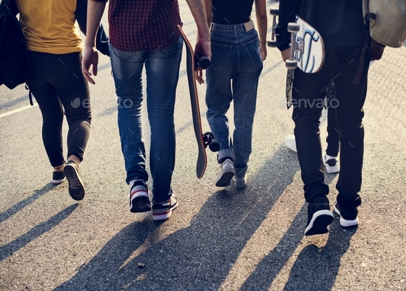 Group of school friends outdoors lifestyle - Stock Photo - Images