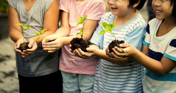 Group of kindergarten kids friends gardening agriculture - Stock Photo - Images