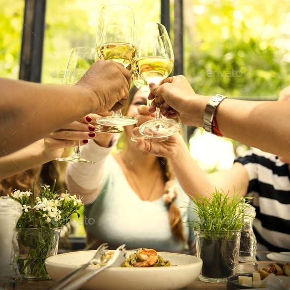 Women celebrating with wine - Stock Photo - Images