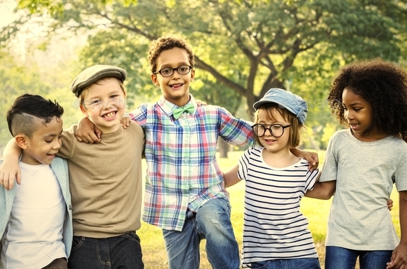 Happy kids in the park - Stock Photo - Images