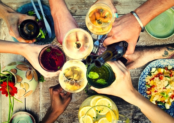 Summer party with food and drinks - Stock Photo - Images