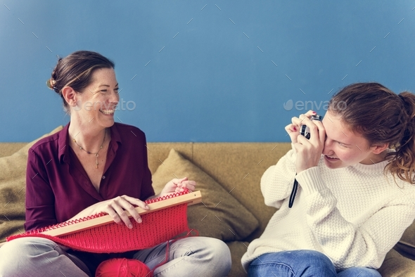 Mother and daughter time on the sofa - Stock Photo - Images