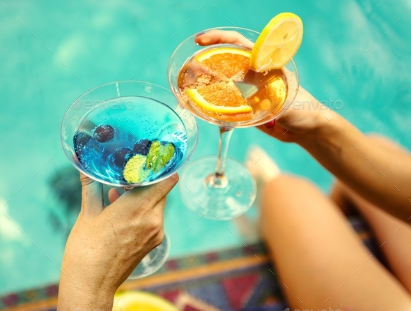 Cocktail party by the swimming pool - Stock Photo - Images