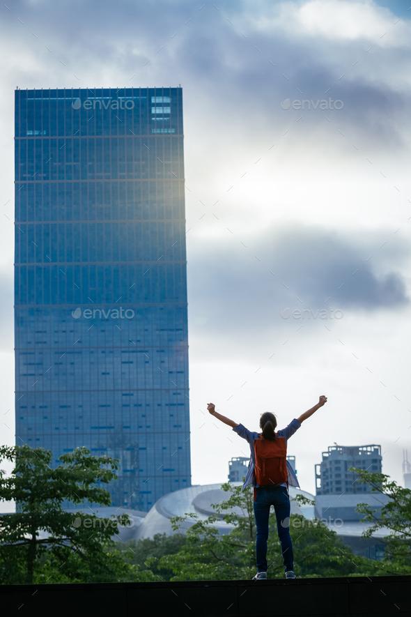 Cheering on sunrise city - Stock Photo - Images