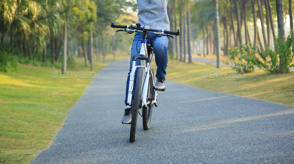 Cycling in the forest - Stock Photo - Images