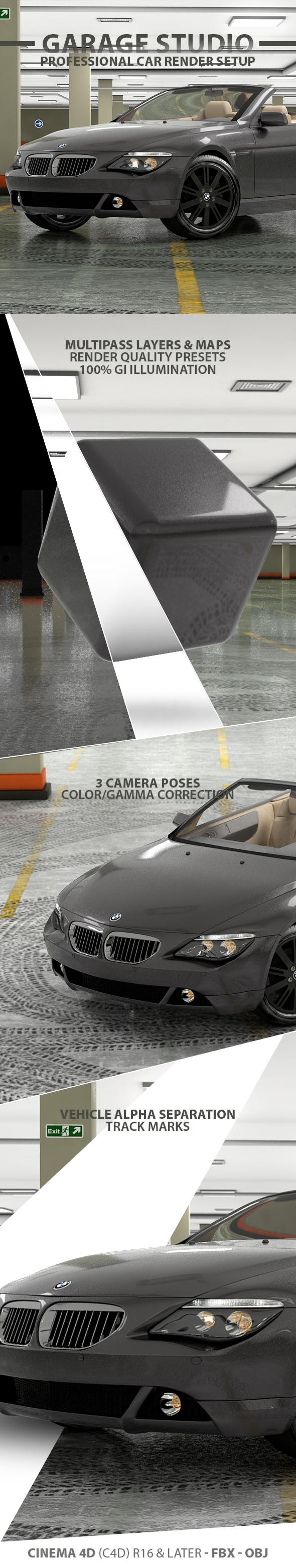 Garage Car Render Studio - 3DOcean Item for Sale