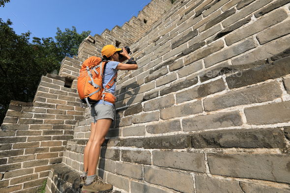 Taking photo on great wall - Stock Photo - Images