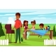 Vector Cartoon Family at Picnic BBQ Party - GraphicRiver Item for Sale