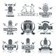 Monochrome Badges Set of Fencing Sport