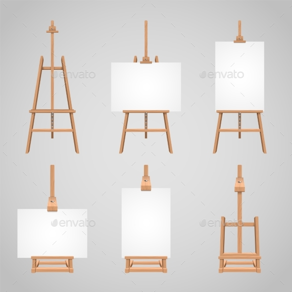 Set Illustrations of Canvases - Man-made Objects Objects