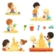 Active Kids Playing in the Sandbox - GraphicRiver Item for Sale