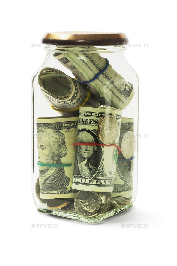 Cash in Glass Jar - Stock Photo - Images
