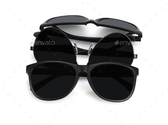 Assorted Black Sunglasses - Stock Photo - Images