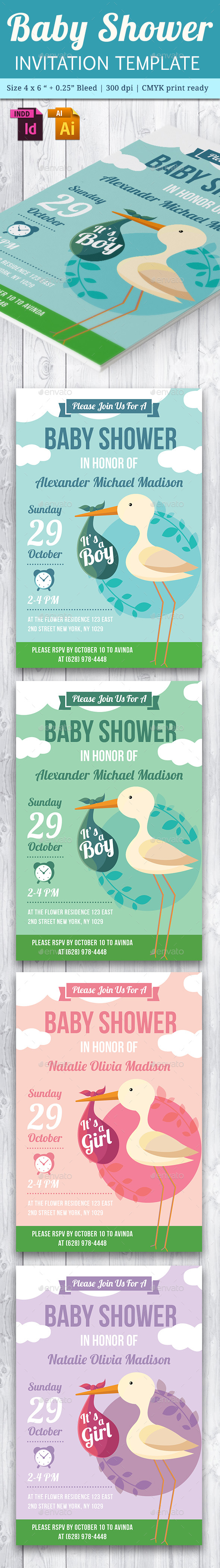 Baby Shower Template - Vol. 21 - Cards & Invites Print Templates