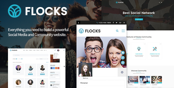 Image of Flocks - Business, Social Networking, and Community WordPress Theme