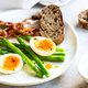 Bacon,Seared Asparagus and Soft boiled egg with Rye bread - PhotoDune Item for Sale