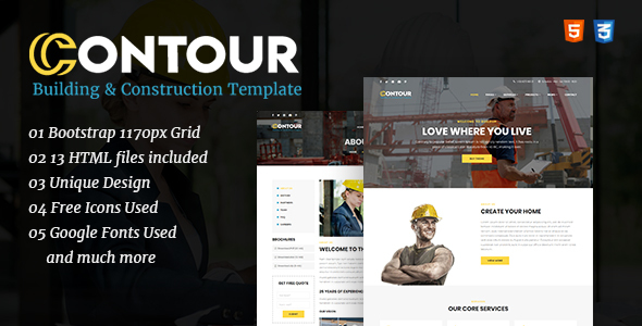 Contour - Construction & Renovation HTML Template - Business Corporate