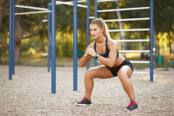 Outdoor deep squat - Stock Photo - Images
