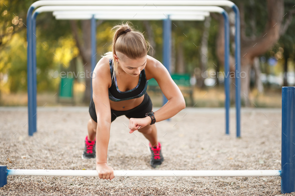 Outdoor Workout Exercise on time - Stock Photo - Images