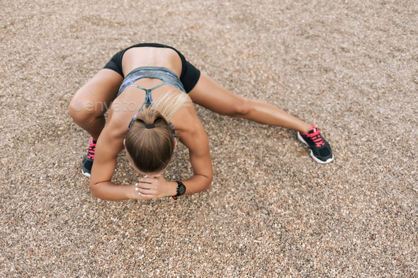 Street stretching workout - Stock Photo - Images