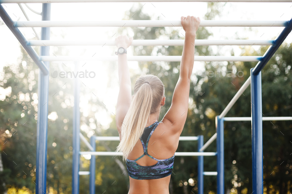 Woman training outdoors - Stock Photo - Images