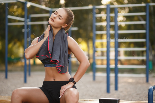 Sport woman use towel - Stock Photo - Images